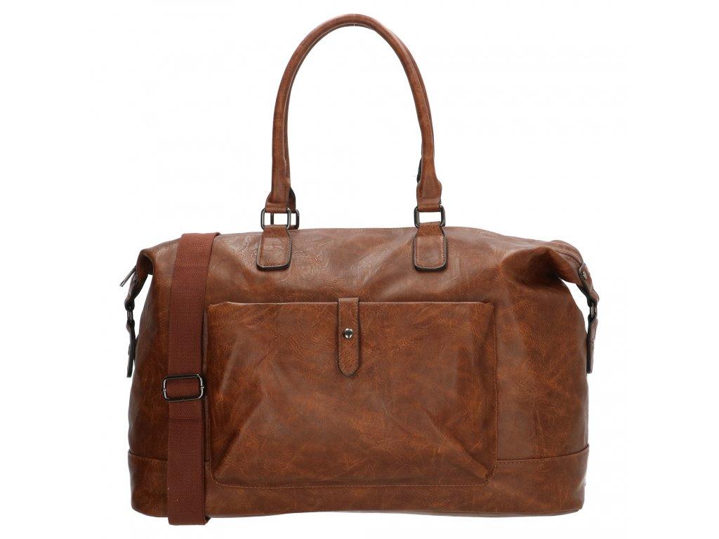 Cestovná taška Kudu z umelej kože - tmavo hnedá