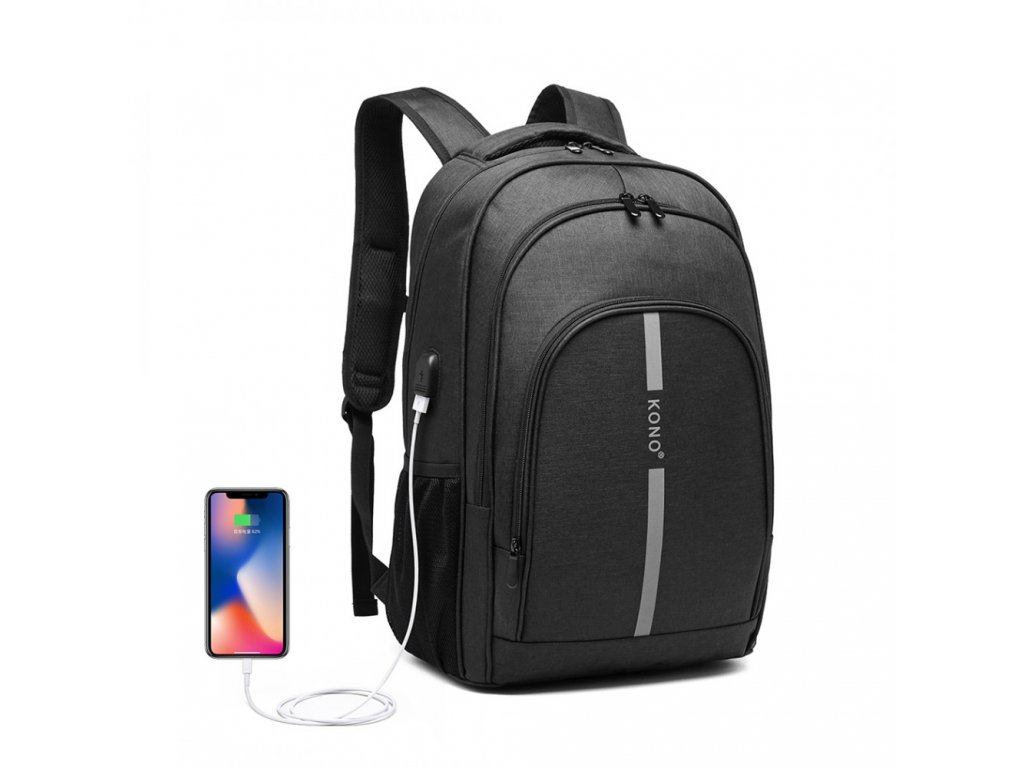 Chytrý batoh so zabudovaným USB portom Freddy - čierny
