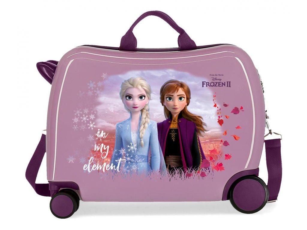 Detský kufor na kolieskach - odrážadlo - Disney Frozen 2 - fialový