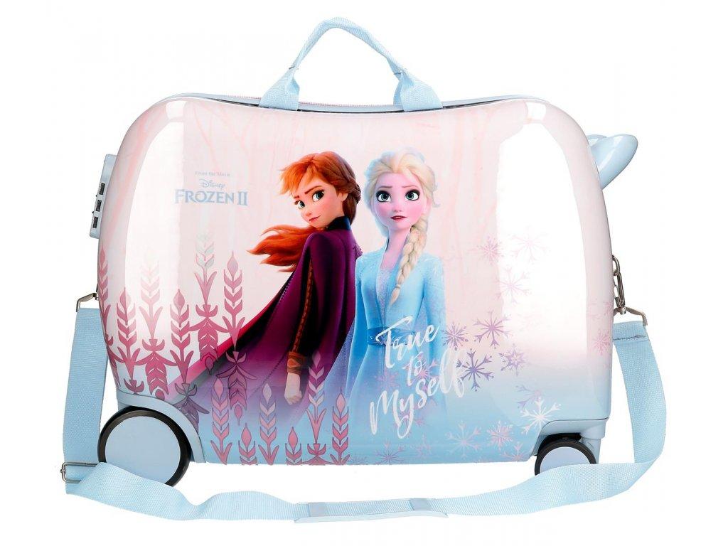 Detský kufor na kolieskach - odrážadlo - Disney Frozen 2 - modrý