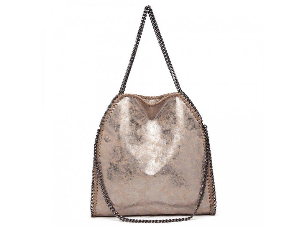 Veľká dámska kabelka s retiazkami - Taupe