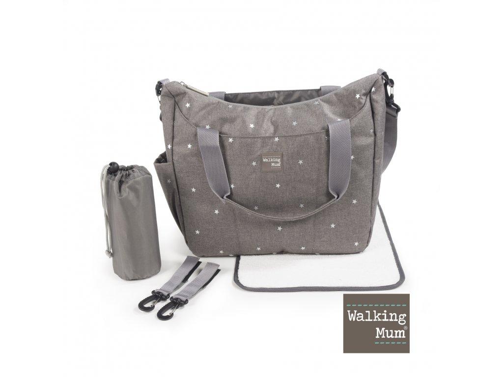 Prebalovacia taška Walking Mum Gaby Grey - sivá s hviezdičkami