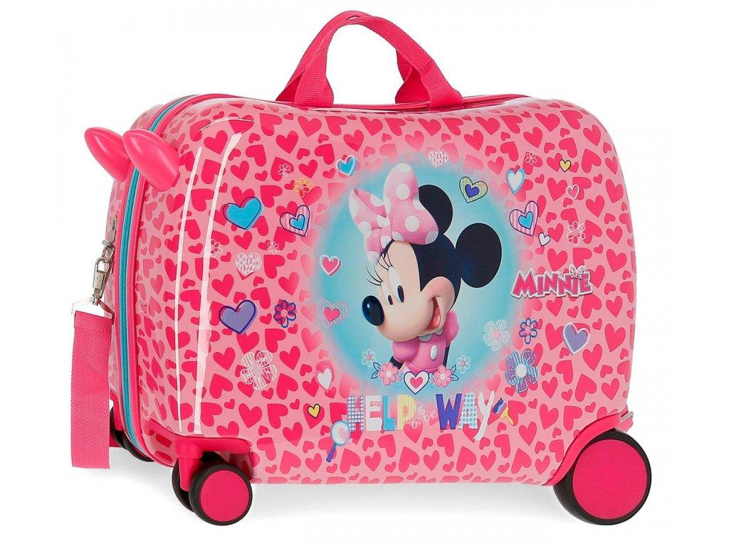 Detský kufor na kolieskach - odrážadlo - Minnie Help Way