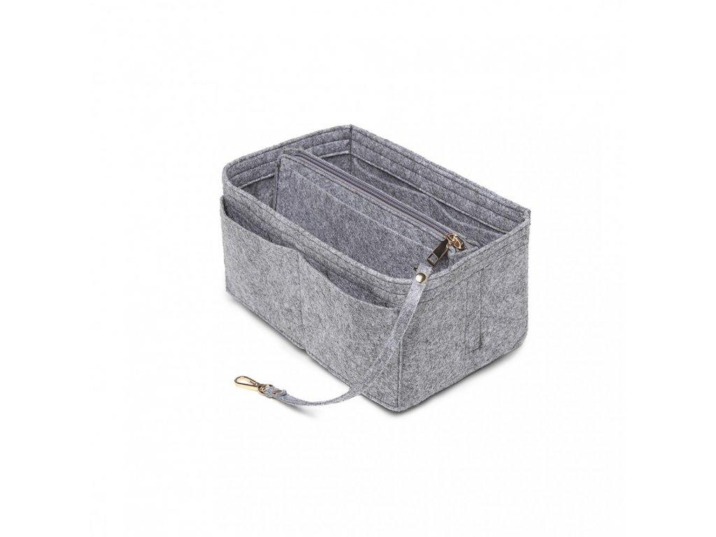 Filcový organizér do kabelky - veľký - svetlo sivý