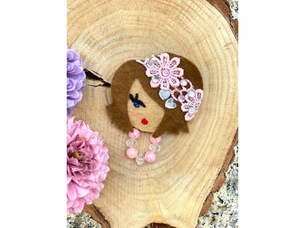 Handmade Filcová Brošňa Littletinka - ružová