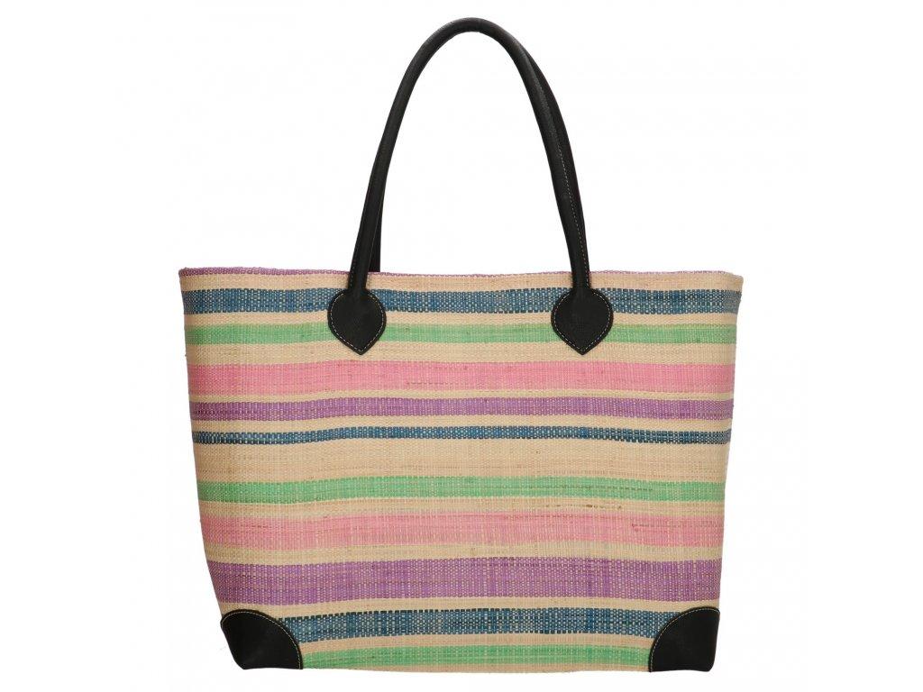 Plážová taška / košík Rafia Mand - pastelová