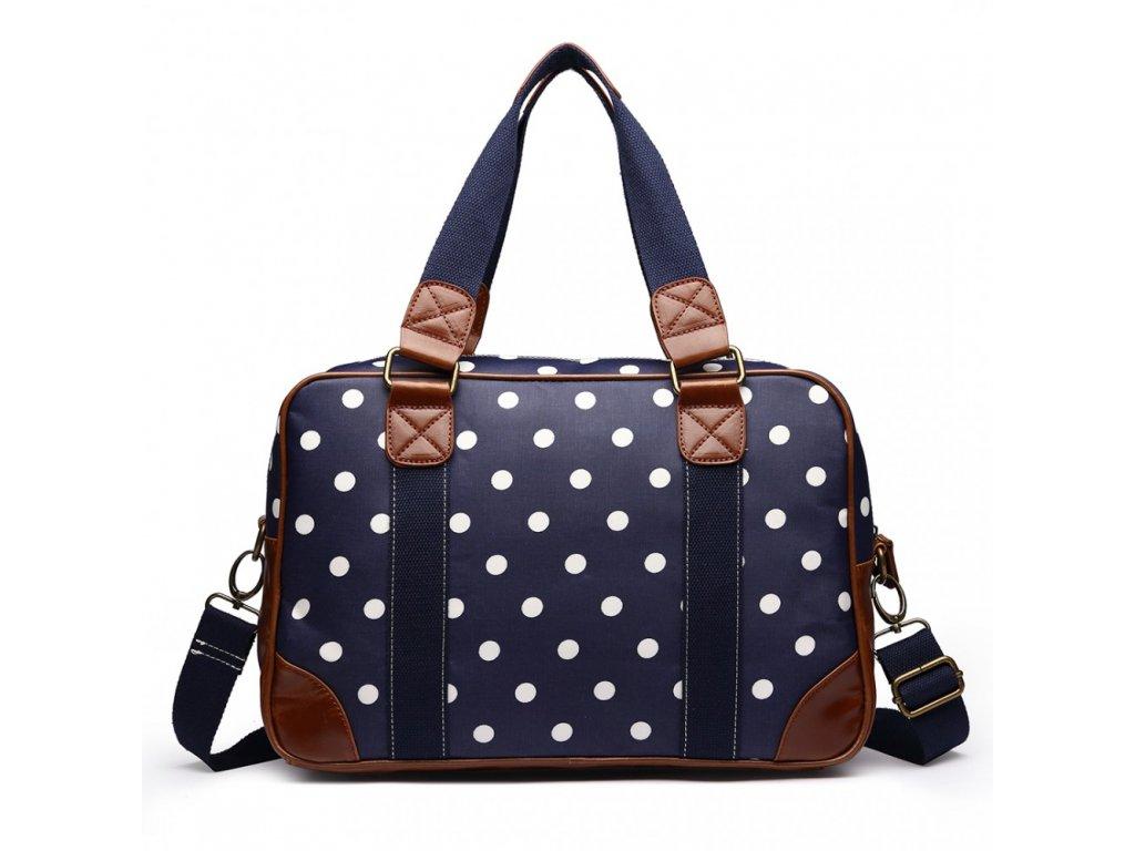 Malá cestovná taška - navy bodkovaná