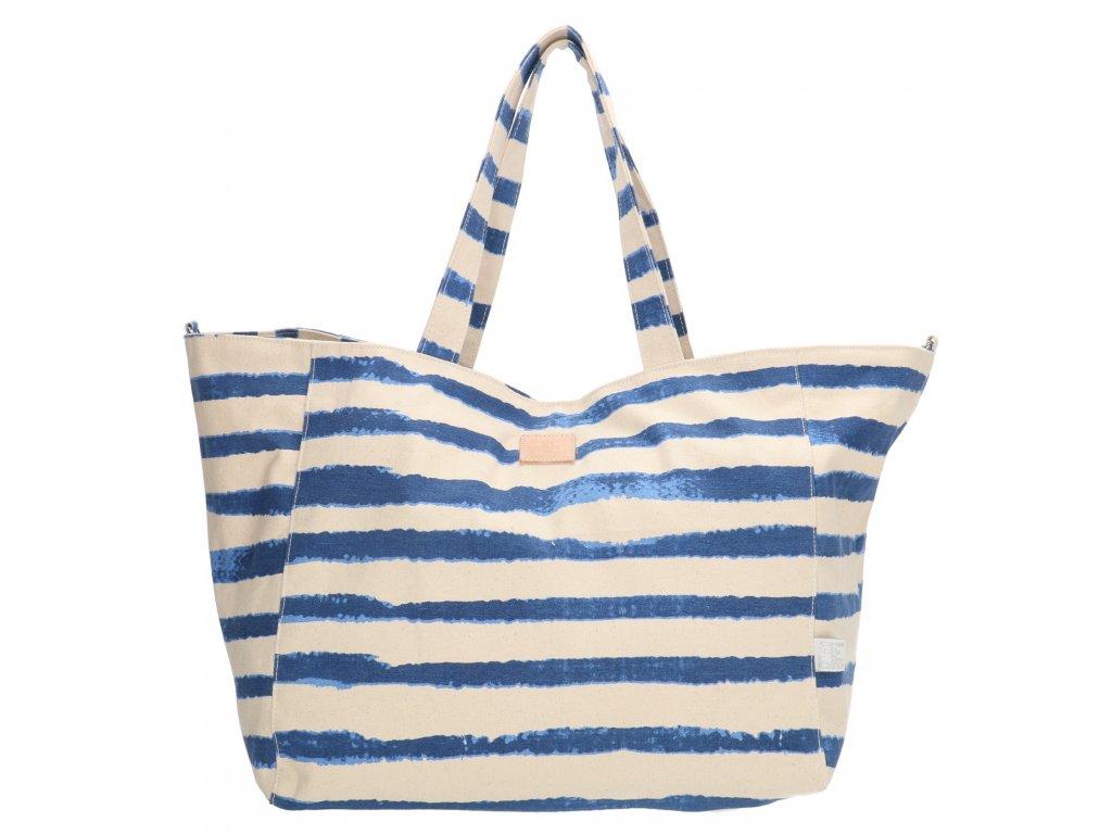 Bavlnená pruhovaná plážová taška PE-Florence - modrá