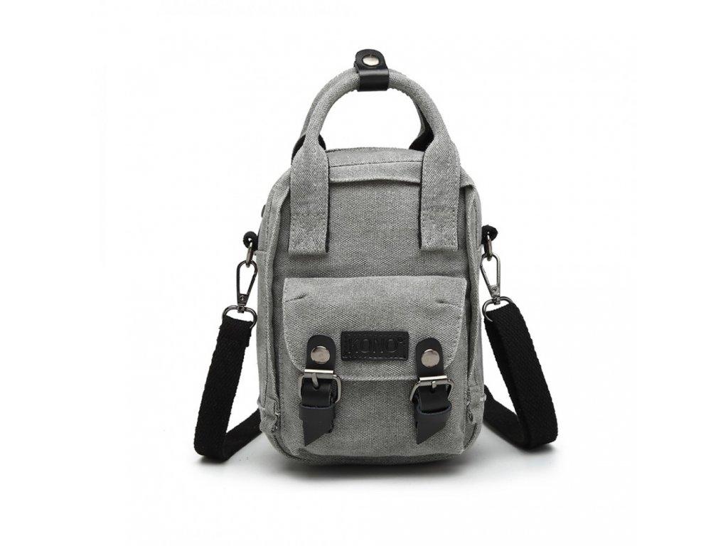 Crossbody mini taška a batôžtek v jednom - sivý