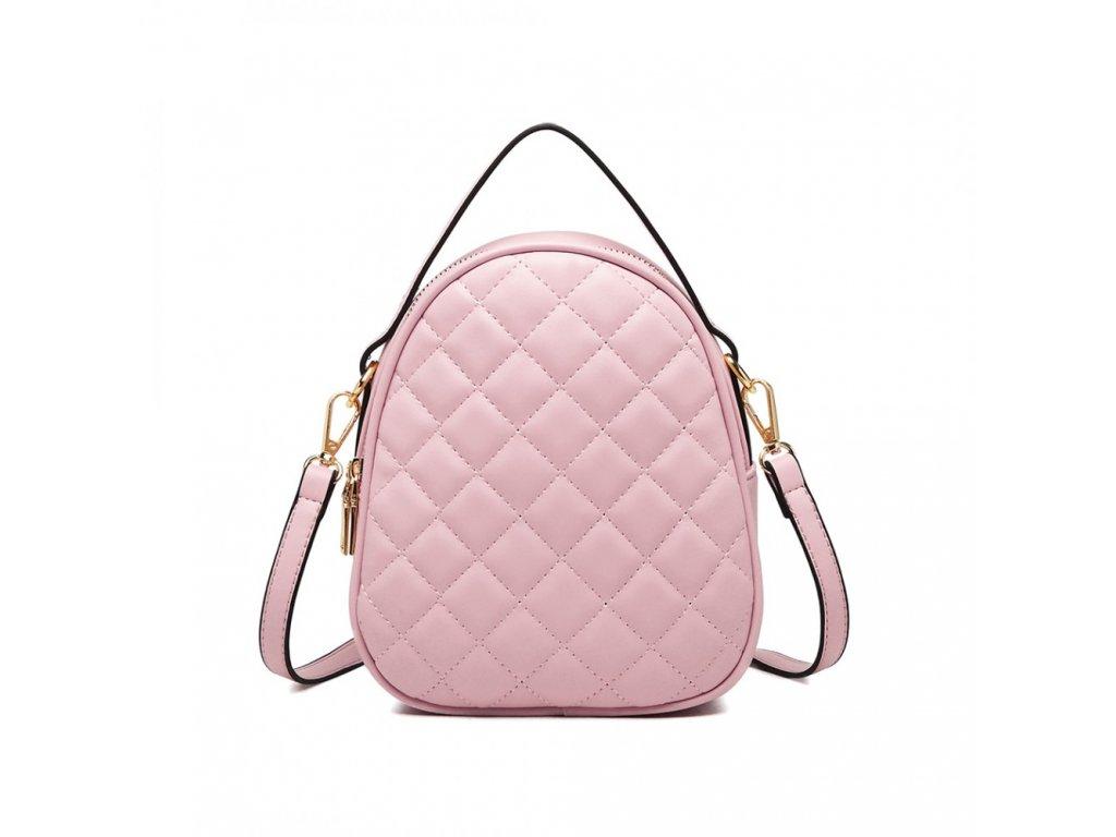 Kompaktná prešívana mini kabelka - ružová