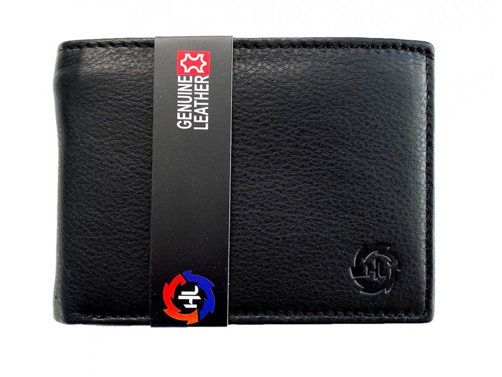 Kožená pánska peňaženka HL čierna bez pracky