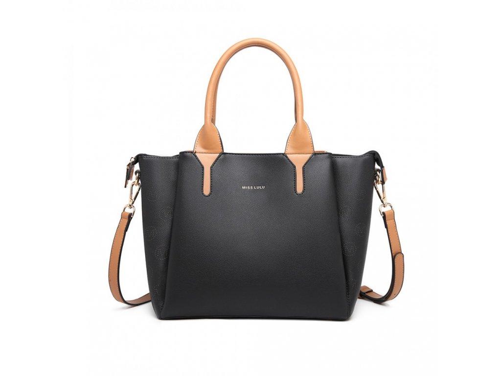 Kompaktná biznis kabelka Miss Lulu Charlotte - čierna