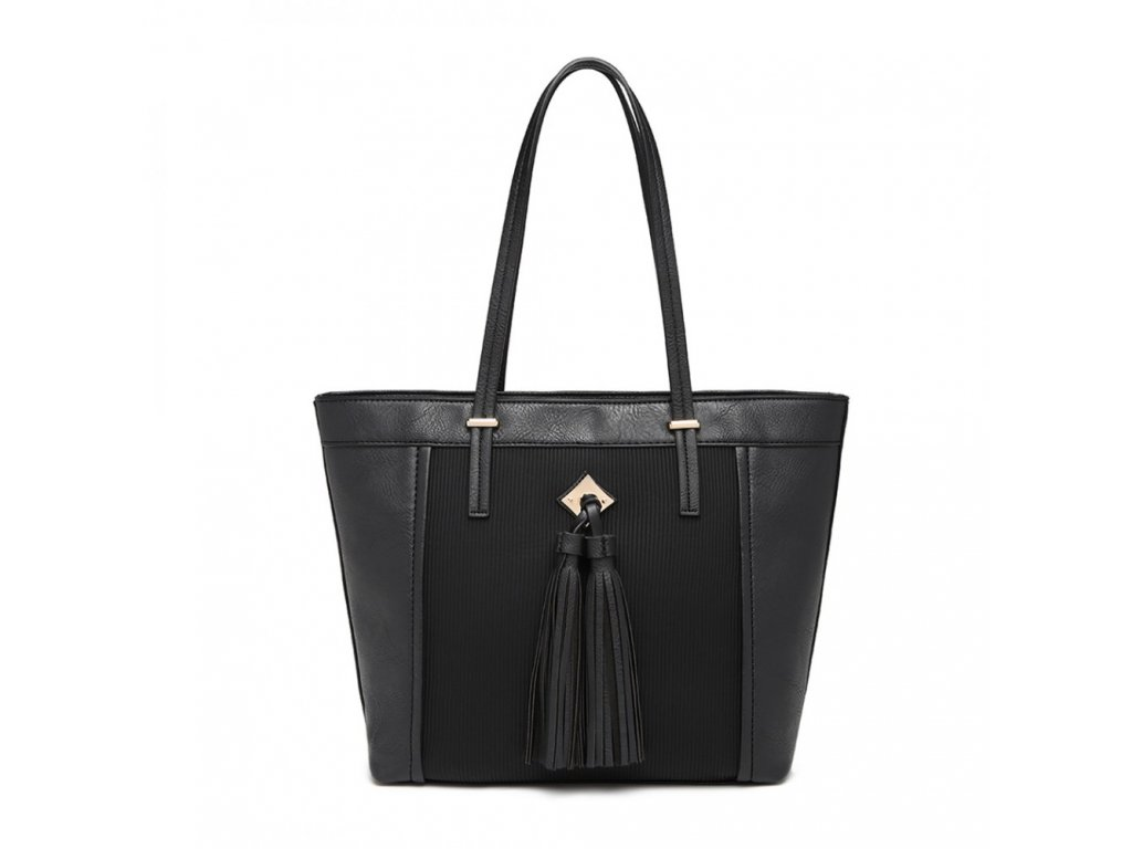 Elegantná kabelka Miss Lullu so strapcom Nikol - čierna