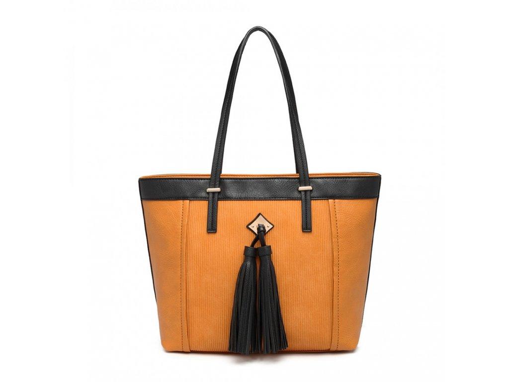 Elegantná kabelka Miss Lullu so strapcom Nikol - okrová
