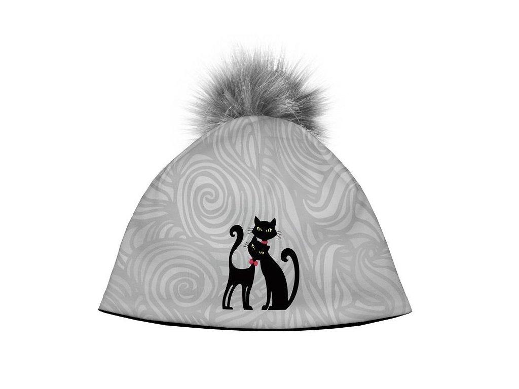 Dizajnová dámska čiapka s veľkým brmbolcom - Cats in black