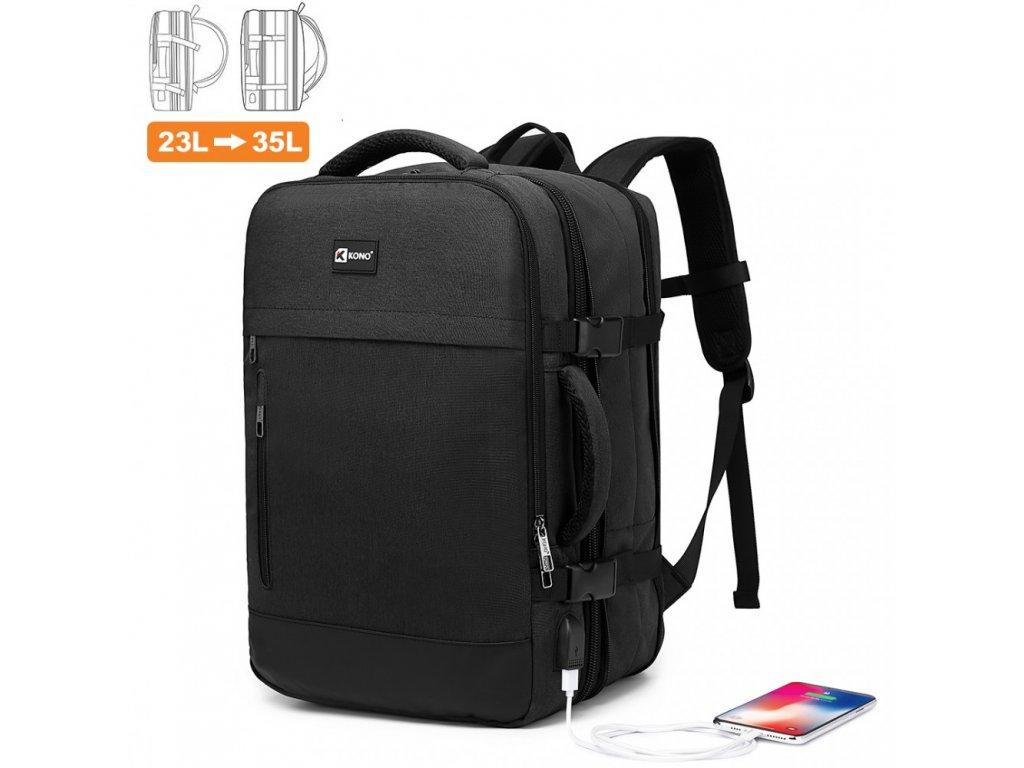 Variabilný cestovný batoh s USB portom 23L - 35L KONO Trip - čierny