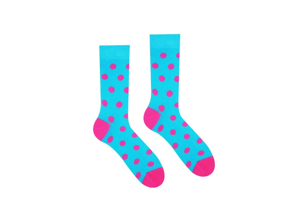 vesele ponozky bavlna bodky ruzova tyrkys socks 600x600