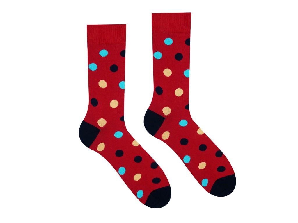 vesele ponožky bavlna bodky bordova
