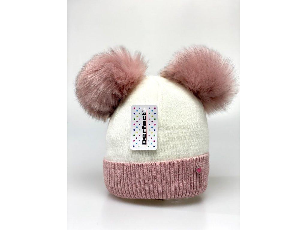 Zimná dievčenská čiapka s dvomi brmbolcami - krémovo ružová