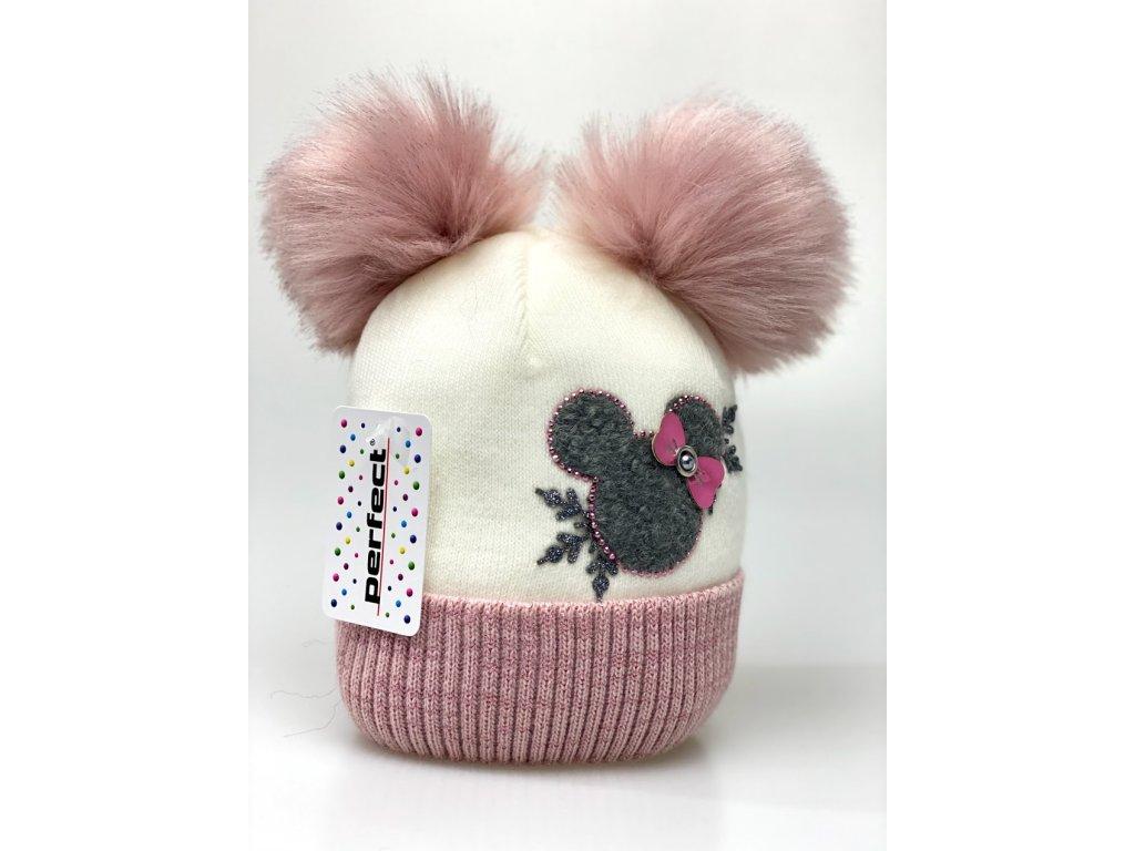 Zimná dievčenská čiapka s dvomi brmbolcami Minnie - krémovo ružová