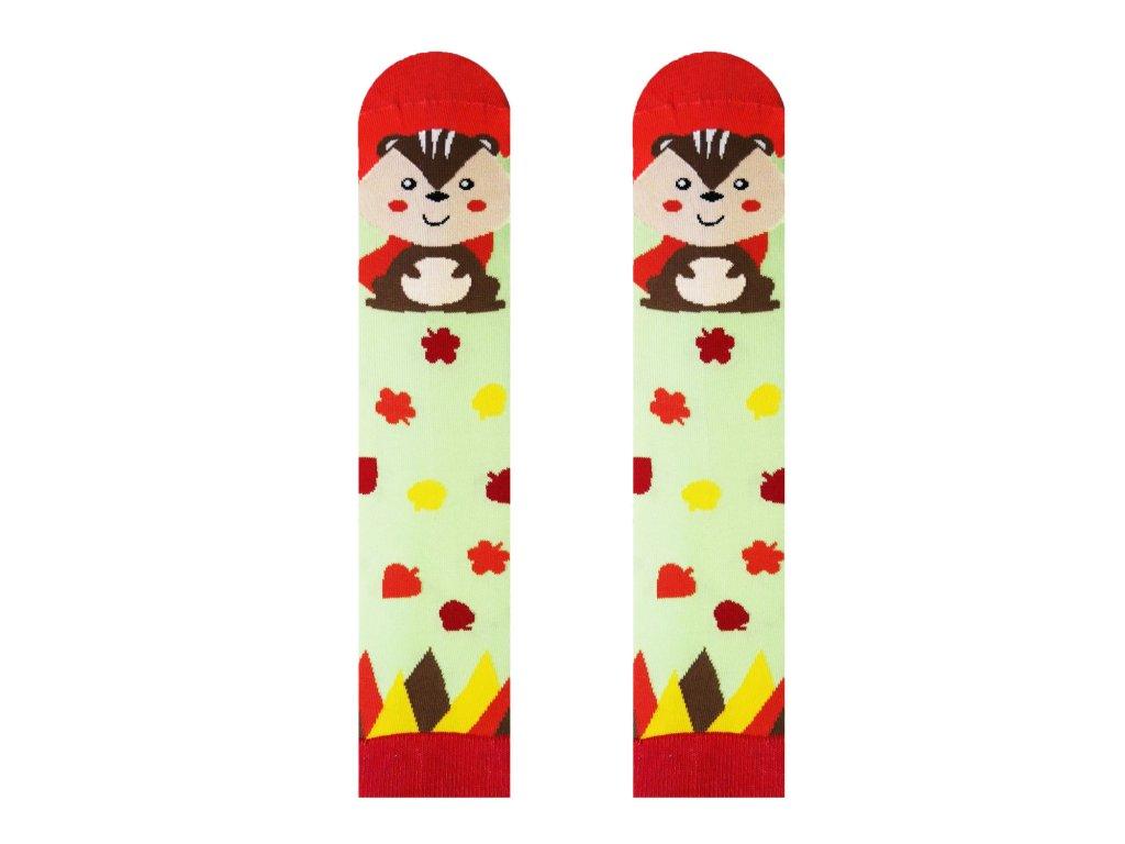Veselé ponožky Veverička zelené