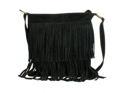 Crossbody kožená strapcová kabelka Charm London Elisa - čierna