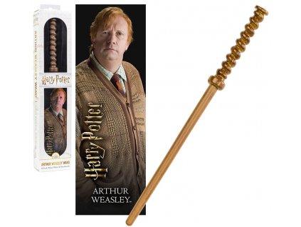 Originálny kúzelnícky prútik Arthur Weasley 30 cm + 3D záložka