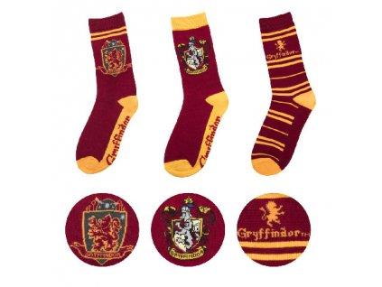 Ponožky Harry Potter 3 kusy v balení - Chrabromil - Gryffindor -37-46
