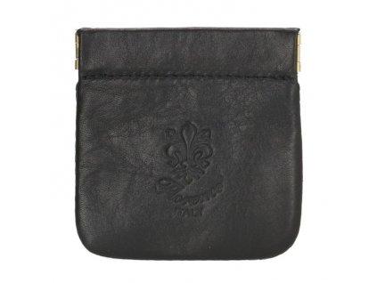 Kožená kapsa na mince - čierna