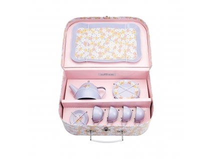 Cínový kufrík s čajovou súpravou Blue Daisy Sass & Belle