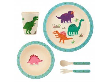 Detská jedálenská bambusová súprava - Roarsome Dinosaurus