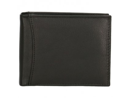 Pánska kožená peňaženka bez zapínania - čierna