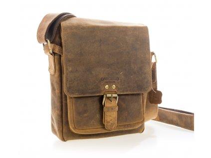 Luxusná kožená pánska taška hnedá s prackou