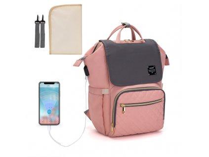 Multifunkčný dizajnový Mama batoh Lequeen - ružovo-sivý