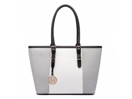 Elegantná kabelka Miss Lulu Stripe - sivá s bielym pruhom