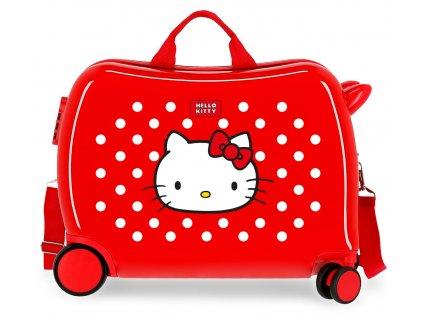 Detský kufor na kolieskach - odrážadlo - Hello Kitty