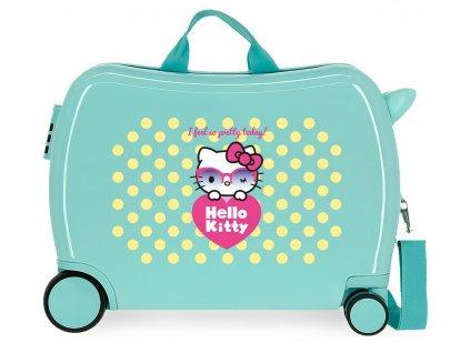 Detský kufor na kolieskach - odrážadlo - Hello Kitty - Pretty Glasses