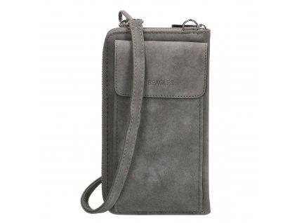 Dámska kabelka na telefón / peňaženka s popruhom cez rameno Beagles Rebelle - sivá - na výšku