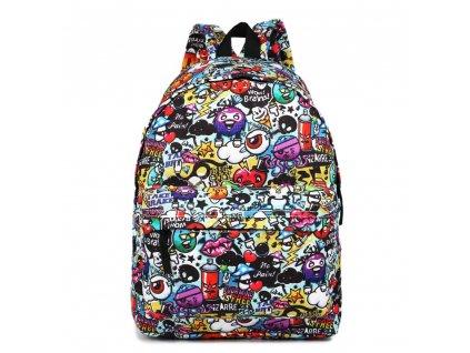 Štýlový školský batoh Cartoon Graffiti