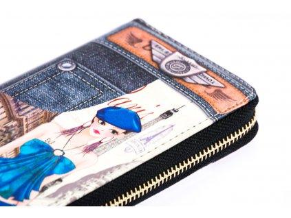 Dámska peňaženka - Riflová so slečnou v barete Paríž