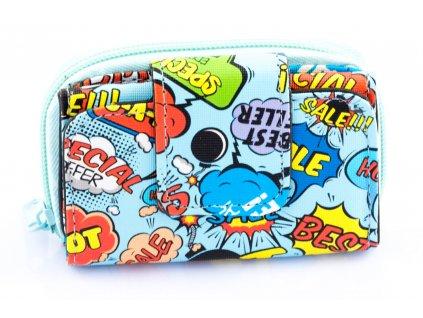 Detská mini peňaženka - modrá - cartoon