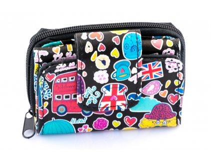 Mini peňaženka - farebná - anglické prvky