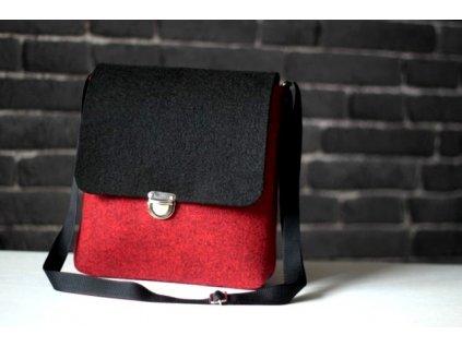 Kabelka designová čierno-červená