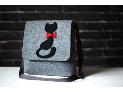 Kabelka designová mačka s červeným obojkom