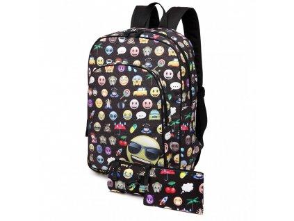 Školská 3-dielna sada: batoh, peračník, peňaženka - čierny