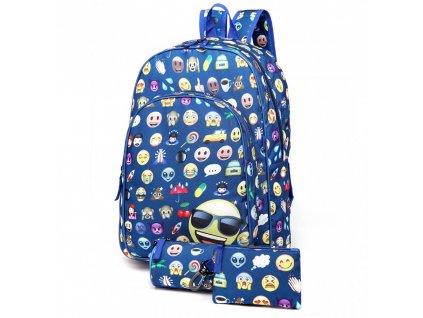 Školská 3-dielna sada: batoh, peračník, peňaženka - modrý