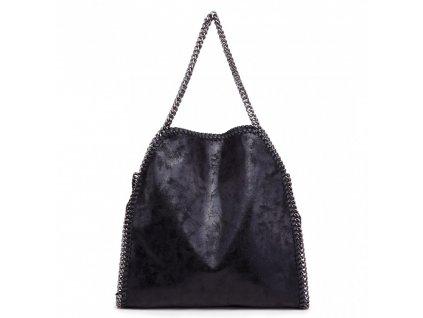 Veľká dámska kabelka s retiazkami - čierna