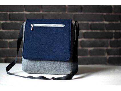 Kabelka basic modro-šedá so zipsom