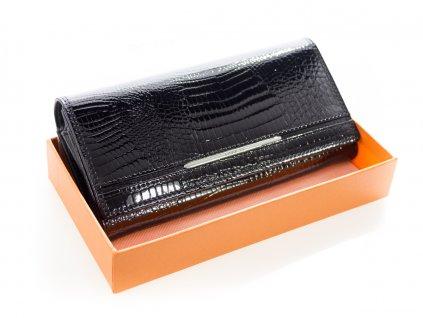 Dámska luxusná peňaženka - čierna hadia koža lakovaná - Cossrol