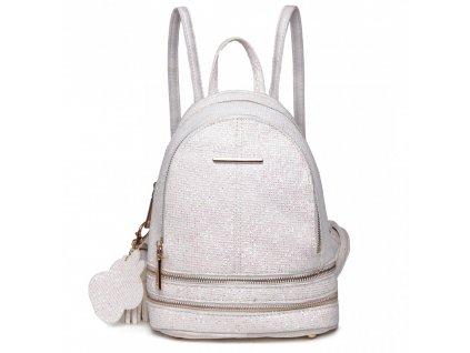 Roztomilý dizajnový batôžtek - biely s trblietkami
